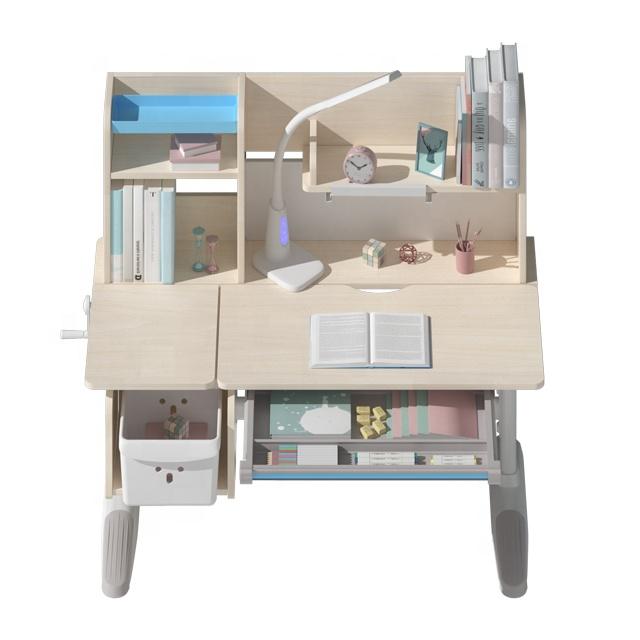 調整可能な人間工学子供研究ライティングテーブル木製学習机と椅子のセット