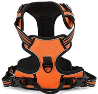 Kingtale adjustable soft padded 3m reflective nopull front lead dog harness with logo orange
