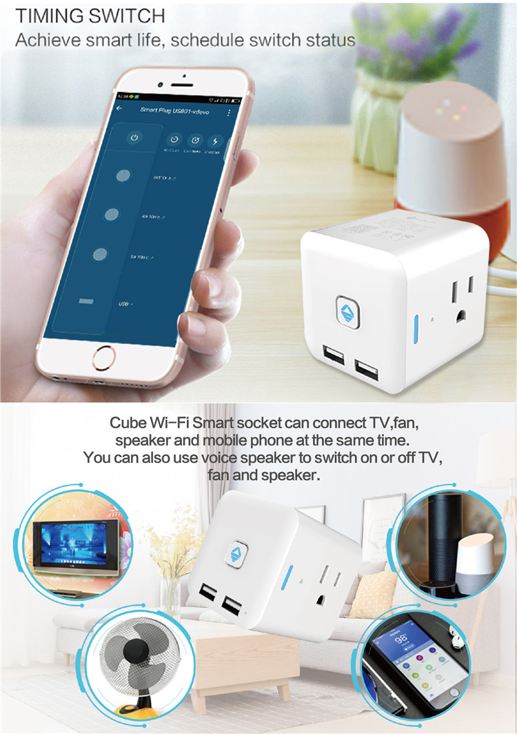 Home Automation 3 AC Outlets Smart Power Strip Surge Protector With Cubic Space Saving Design Work With Amazon Alexa Google Home
