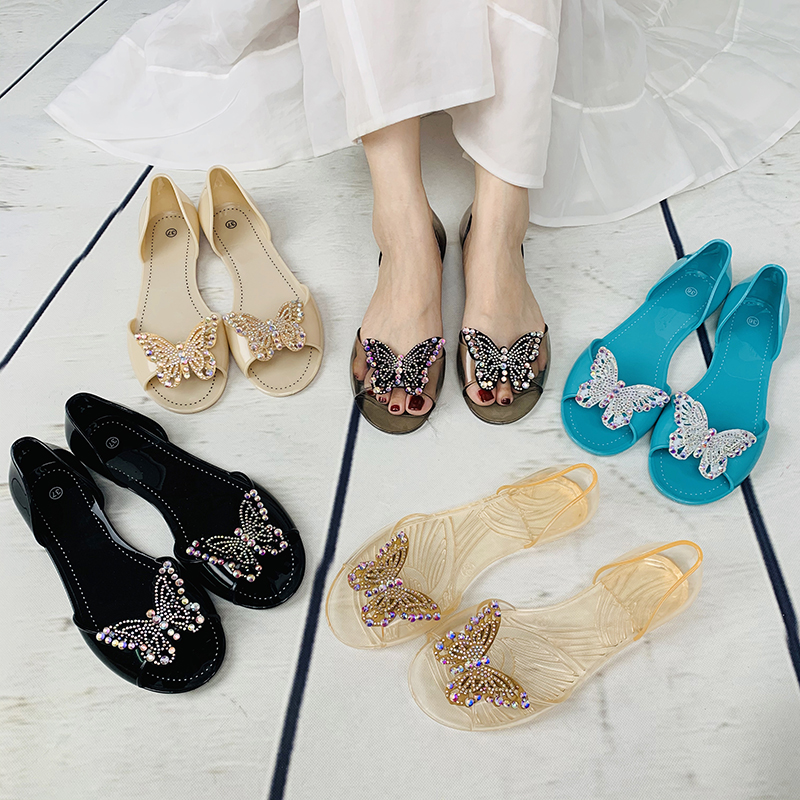 Lady PVC Transparent Shoes Slip On Jelly Sandals For Women