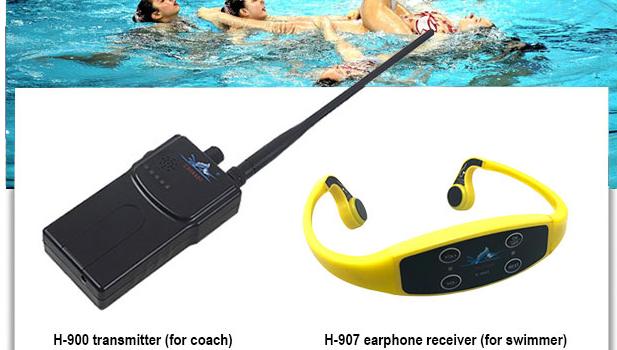 실시간 사회 거리 수영 훈련 FM 송신기 편도 통신 방수 수중 뼈 전도 헤드폰