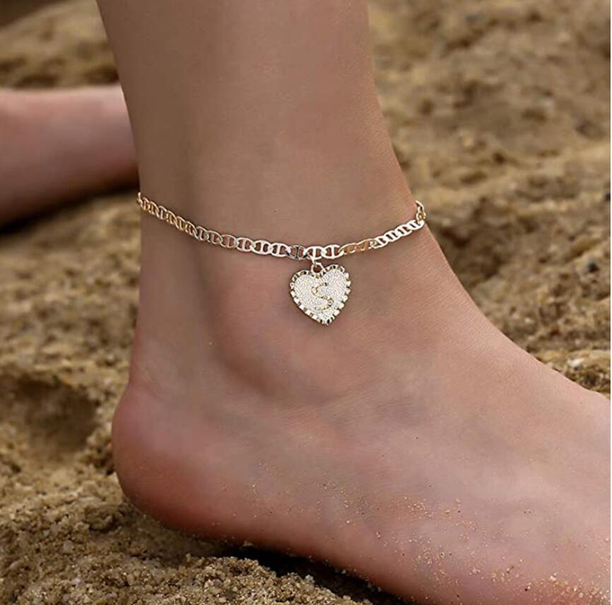 Women Dainty Summer Anklet Jewelry cuban link Chains Letter Pendant Gold Heart Shaped Initial Anklet