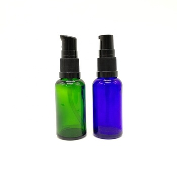 30ml Round Cobalt Blue Shiny Green Cosmetic Glass Bottle with Lotion Pump And Dust Cap