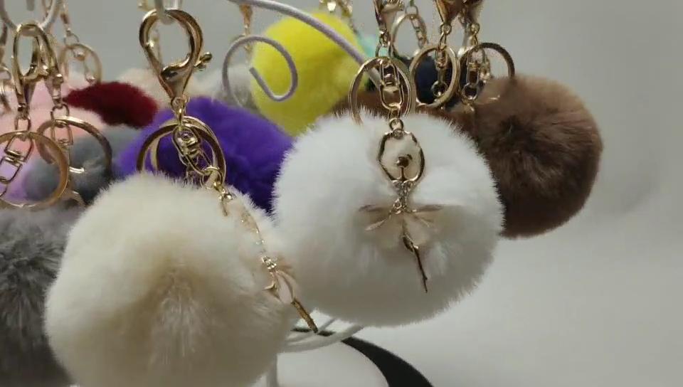 2020 בתפזורת custom מפתח טבעות Custom ארנב פרווה כדור פלאפי גדול פאף פלאפי Keychain עם ריקוד ילדה