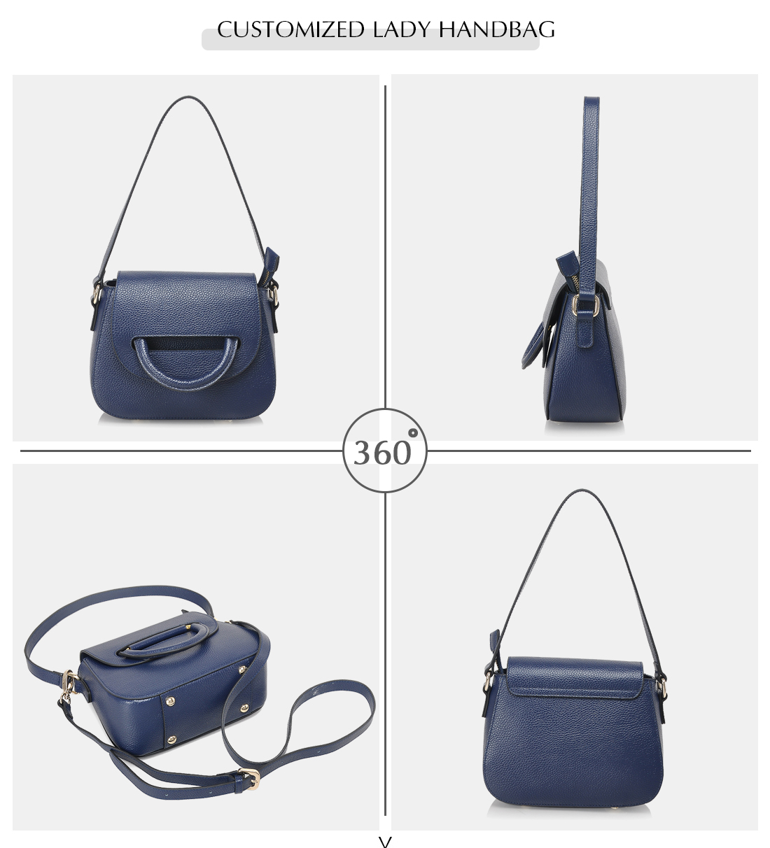guangzhou shoulder bag custom blue purse