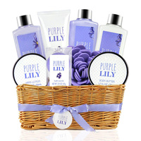 Eco-packaging purple lily bath and body works body lotion bath gift sets for spa women