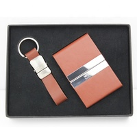 Luxury gift Custom logo leather card holder and key chain set