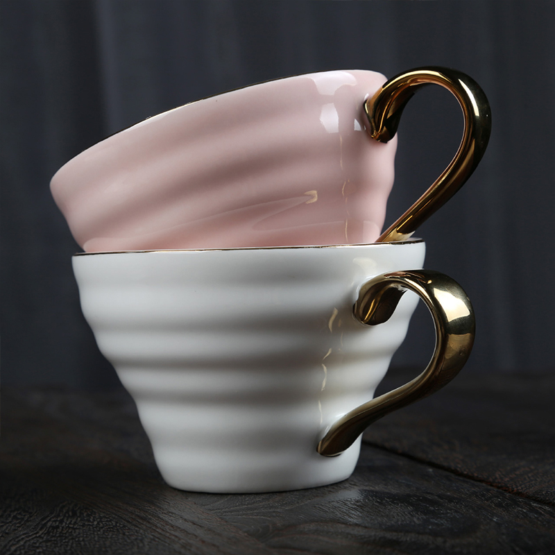 Elegant design cheap prices custom color gold rim ceramic coffee tea cup for restaurant