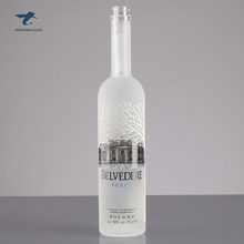750Ml Top Lớp Thanh Lịch Decal Frosted <span class=keywords><strong>Chai</strong></span> <span class=keywords><strong>Vodka</strong></span> <span class=keywords><strong>Chai</strong></span> Với Polymer Cap