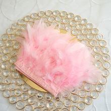 1 метр натуральная кожа розовый цвет Турция перо планки ленты свадебное платье украшение шитье ремесла оптовая продажа(China)