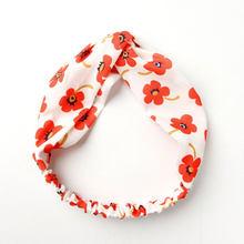 Корейская повязка для волос с узелком и цветочным принтом, милая широкая повязка на голову для женщин и девочек, головной убор ободок, женск...(Китай)