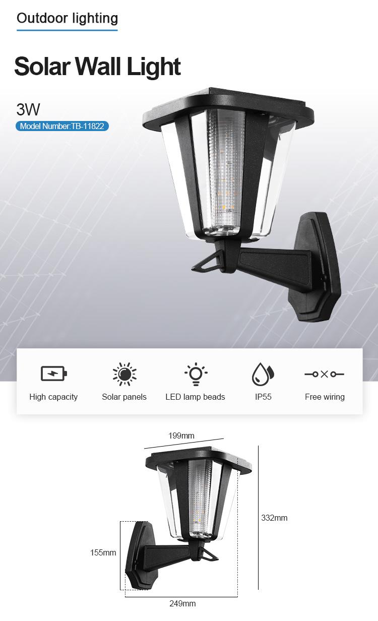 High Power Customized IP65 Waterproof Wall Lamp Garden Led Solar Light Outdoor 3W Solar Sensor Wall Light