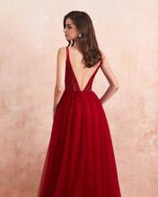 Сексуальные длинные платья с v-образным вырезом для выпускного вечера 2020 бисерное платье с высоким разрезом и открытой спиной ТРАПЕЦИЕВИДН...(China)