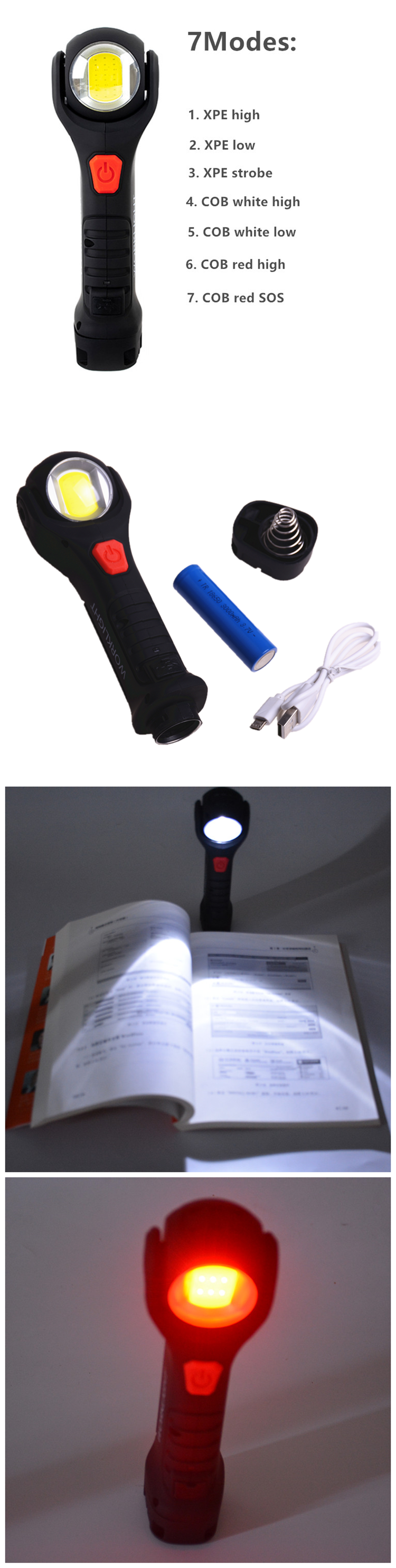 2020 New Design 300M Long Range Strong Light Plastic Flashlight with Magnet ,Color Changing Bulk Cheap led Flashlights
