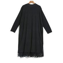 Женское платье EAM, черное Сетчатое платье в горошек с длинным рукавом, стоячим воротником, свободный крой, весна-осень 2020 1B593(Китай)