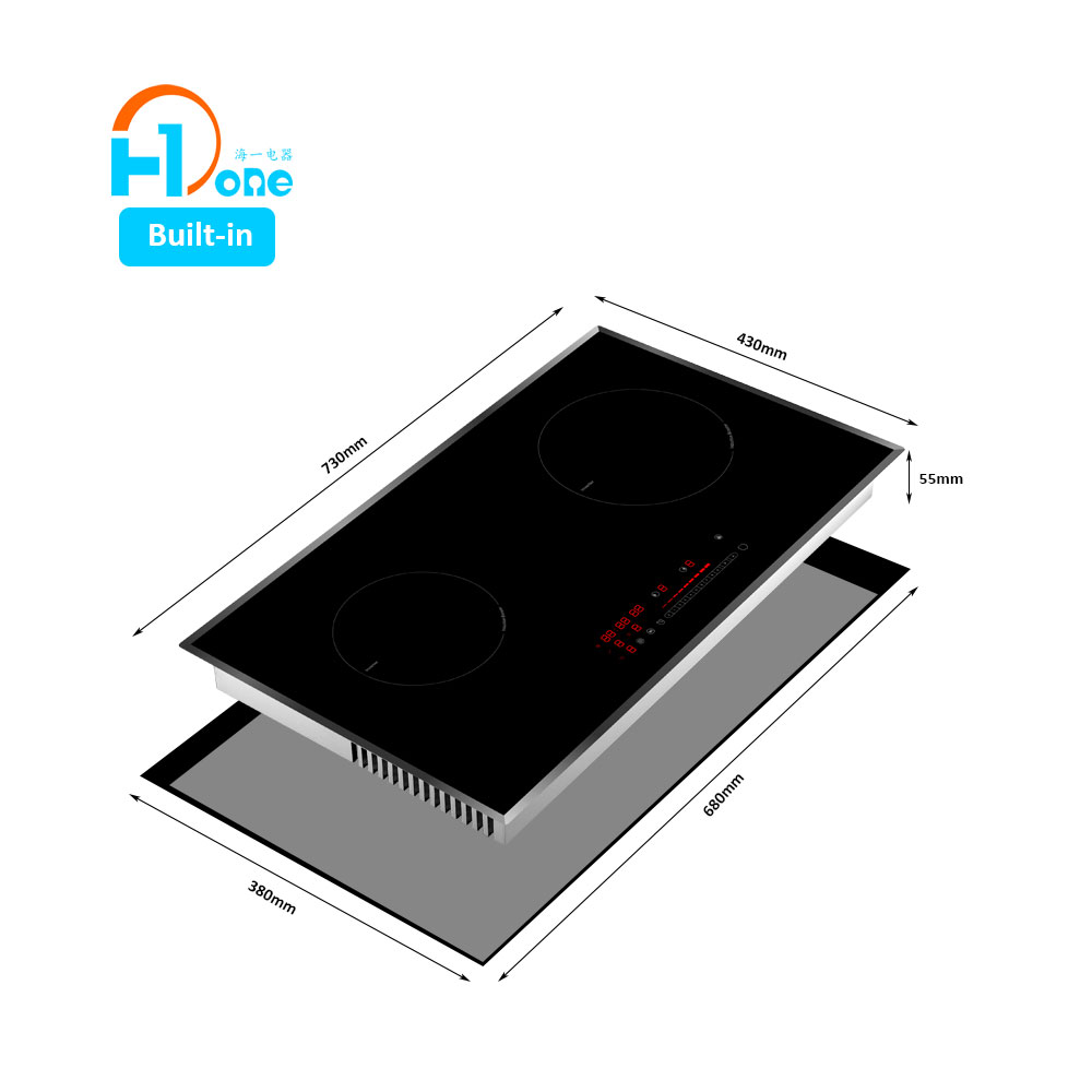H-One Built-In Double Hob Smart Induction Cooker Induction Cooktop 220v 50hz With RoHS 8128-255