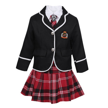 Kids Girls British Style Anime Costume Suit Long Sleeve Coat with Shirt Tie Mini Skirt Set School Uniform