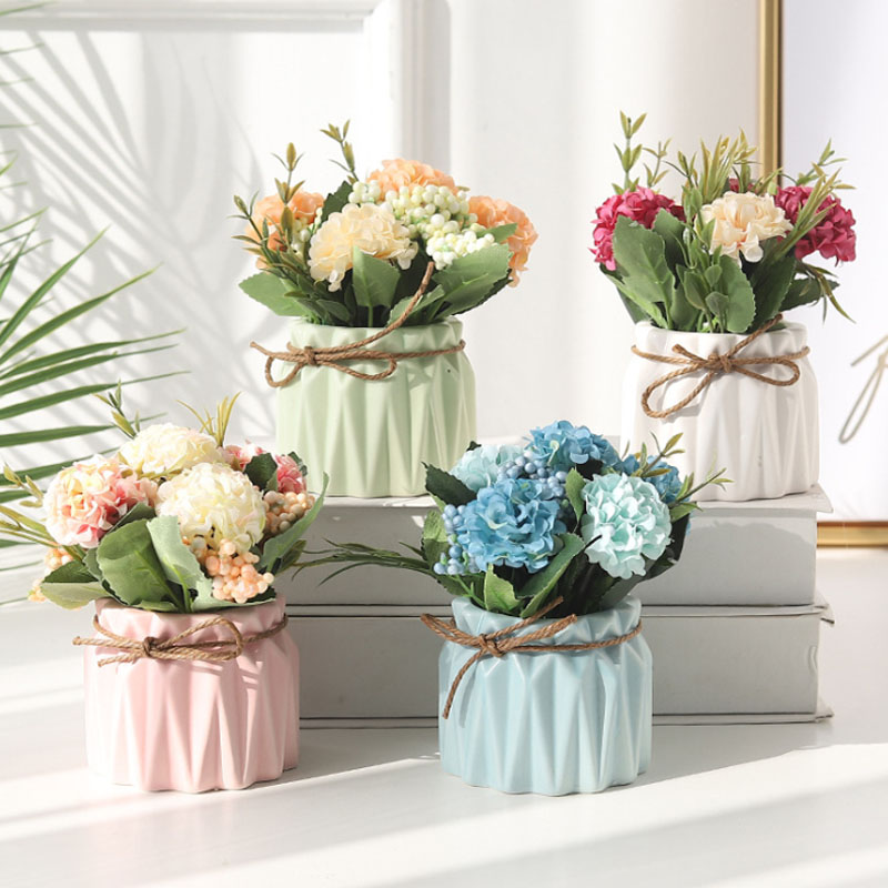K020936 Artificial Hydrangea Flowers Plants Set Roses Flowers for <strong>House</strong> Office Desk Kitchen Decoration