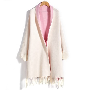 Cashmere Poncho Milk White Pink 100% Pure Wool Scarf Warm Long Shawl Women's Fashion Winter Scarf