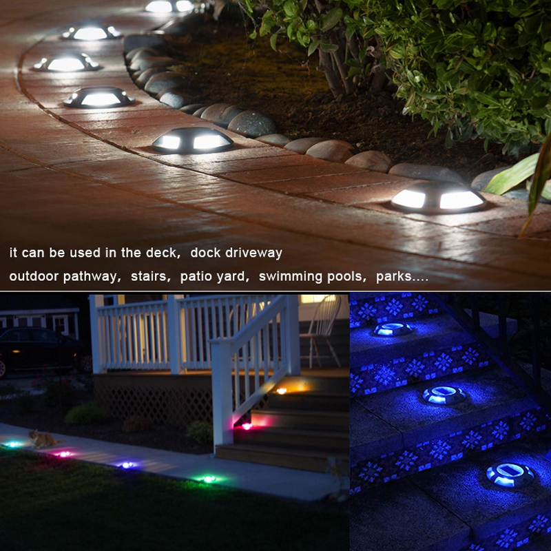 Solar Deck Lights Driveway Dock LED Light 4LEDs High Compressive Waterproof Road Markers for Step Sidewalk Stair Garden Pathway