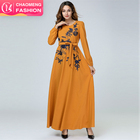 6213#2019 new arrivals embroidery elegant modest fashion casual clothing women dresses