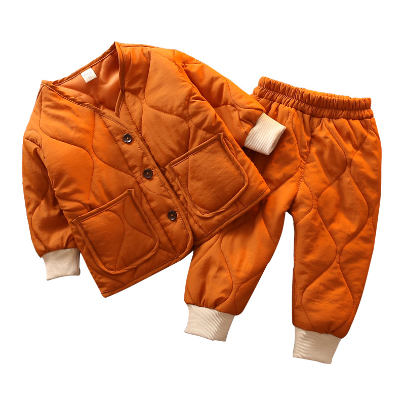 or10384h China wholesale clothing sets girls boys autumn winter kids clothes set warm