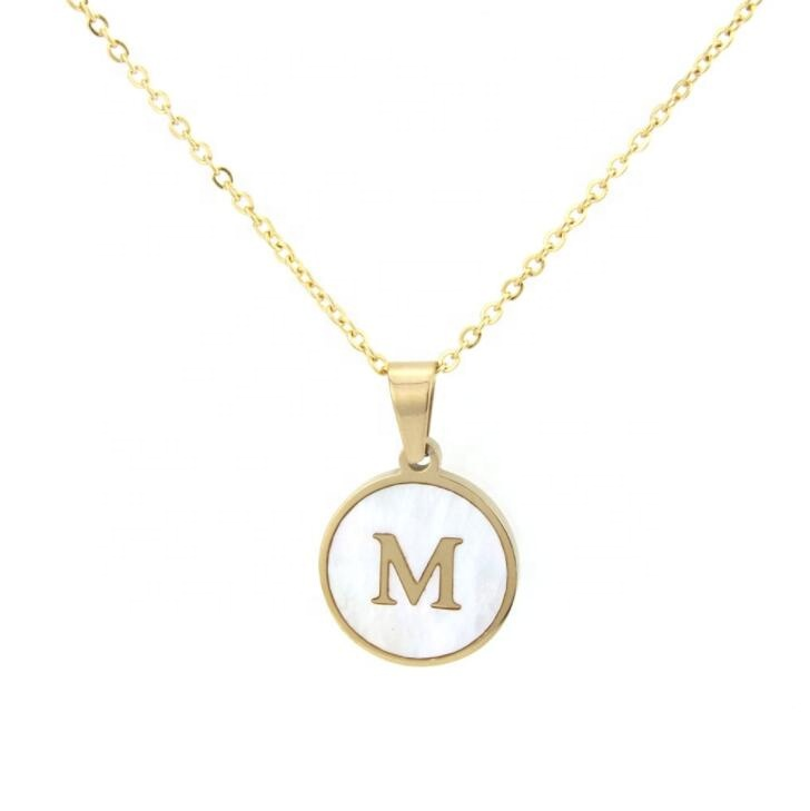 <strong>Cheap</strong> Initial Alphabet Letter Jewellery <strong>Cute</strong> Dainty circular shell Pendant Custom Jewelry <strong>Necklace</strong>