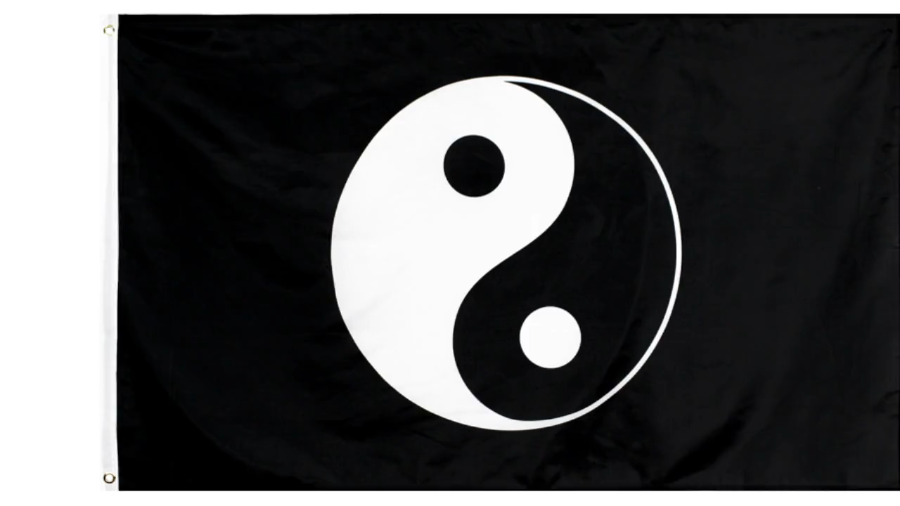 En gros 100% Polyester 3x5ft Stock Imprimé Noir Yinyang Drapeau