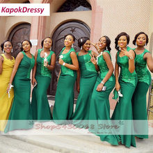 Изумрудно-зеленое платье подружки невесты из Африканской ткани 2020 оптовая продажа длинное платье русалки без рукавов для свадебной вечери...(Китай)
