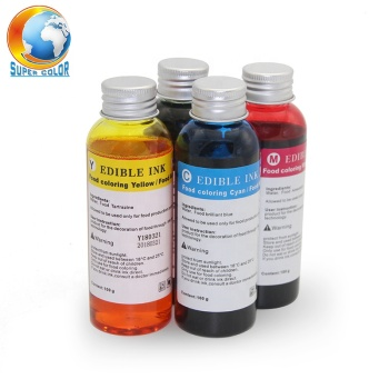 Supercolor 100ML/Bottle 4 Colors Refill Edible Ink For HP 803 Coffee Cake Printer