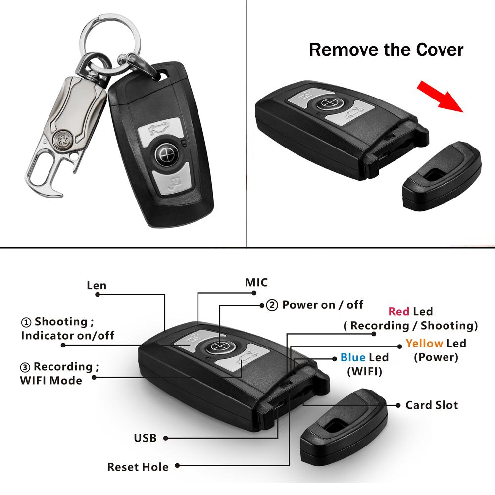 2020 Video Recorder Real 4K Wifi Mini Keychain Camera Car Key Ring DVR Hidden Camera 3840*2160