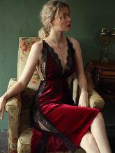 Сексуальная ночная рубашка, женская пижама, осень/зима, золото, бархат, красота, на спине, на подтяжках, платье, кружево, с разрезом по бокам, и...(Китай)
