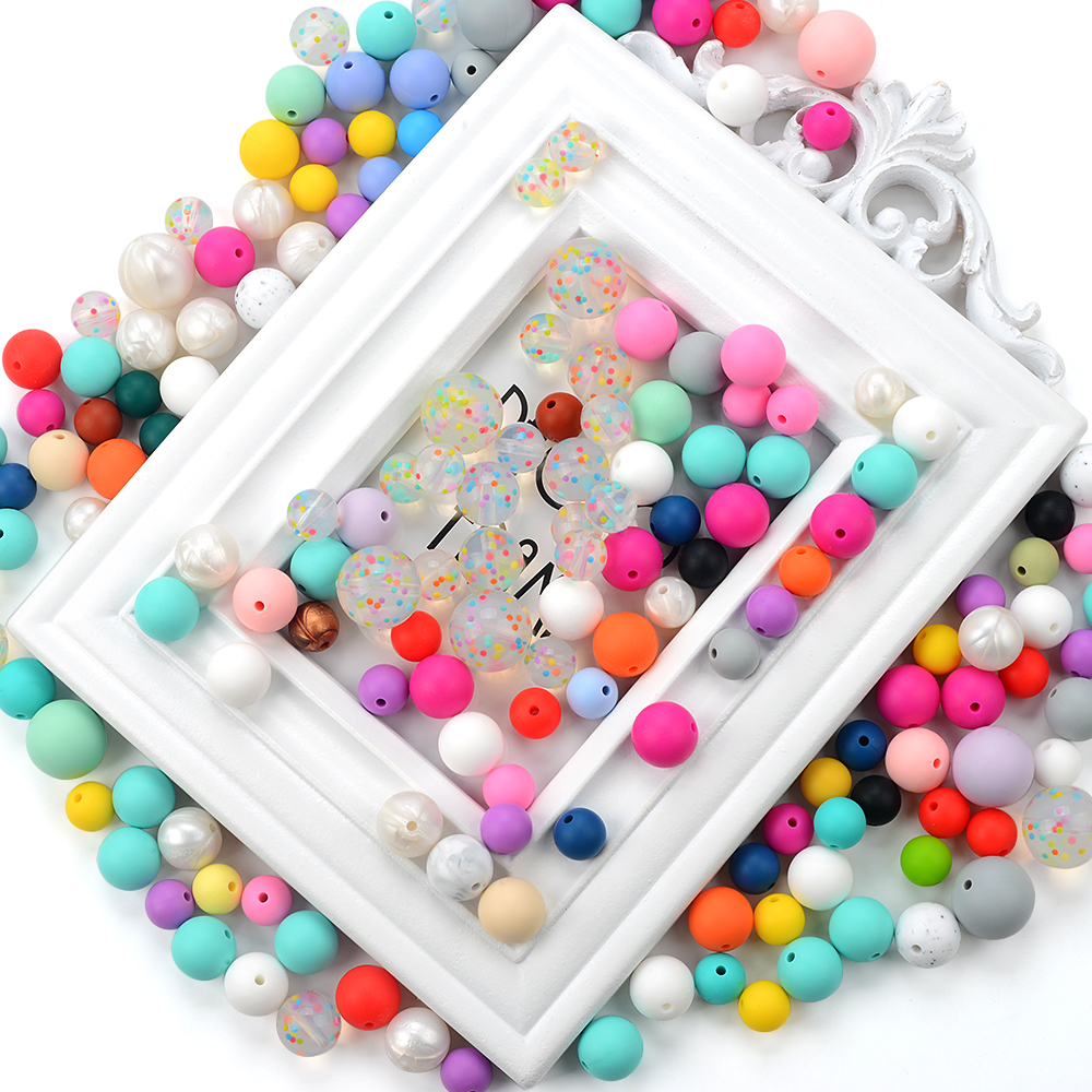 BPA Free Baby Chewing Silicone Crystal Beads