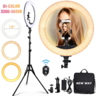 Dimmable Photographic Light 65W Studio Makeup LED Ring Light 18 Inch LED Ringlight Kit with Tripod Stand Phone Holder