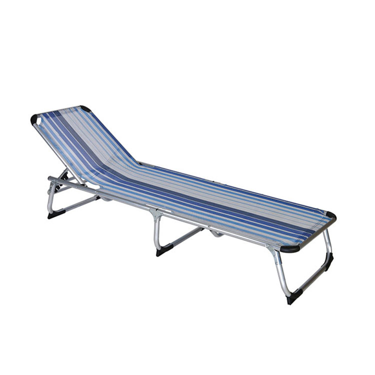 Aluminum Deck Sun Folding Beach Lounge Chair Bed with Canopy