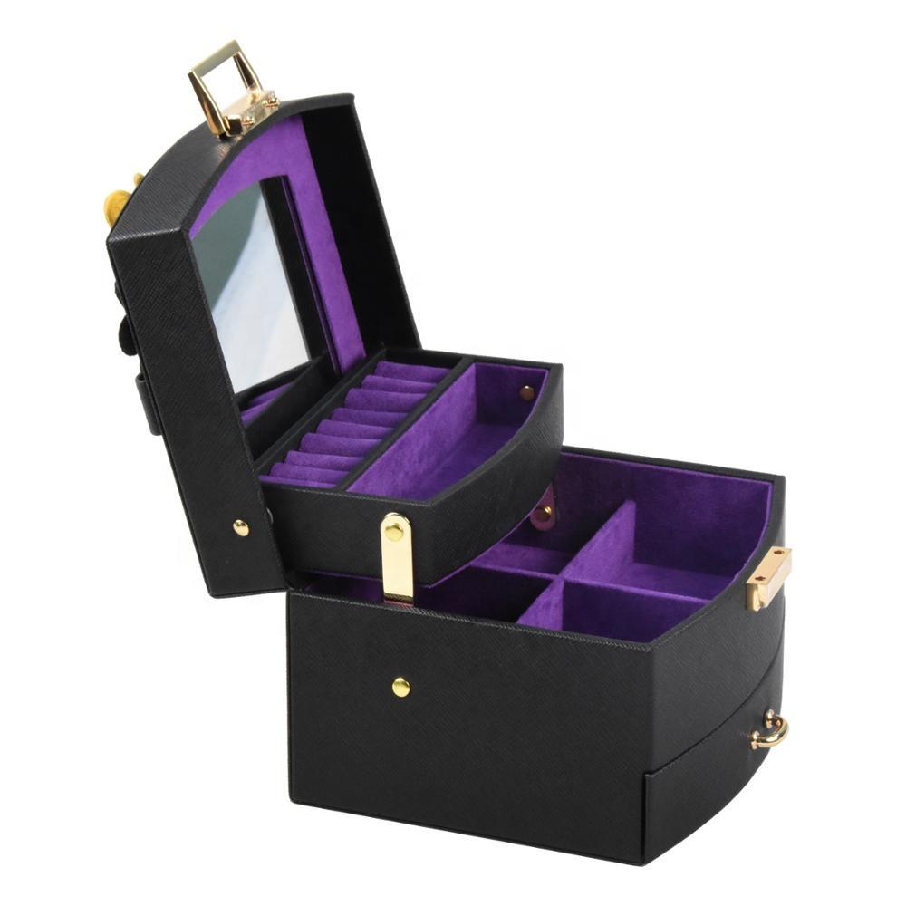 Luxury fashion handmade black pu leather & velvet lining jewelry box with mirror