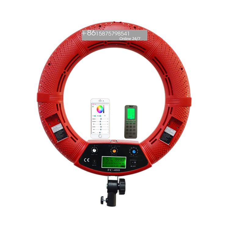 2020 LED RGBW rechargeable battery operated ring light 18inch FC-480 Red color