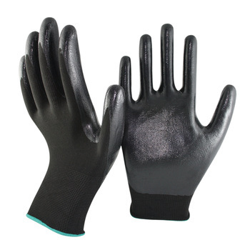 EN388 Nitrile Work Gloves Heavy Duty Nitrile Coated Construction Working Gloves Black Nitrile Gloves