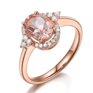 Champagne color Oval Cut Synthetic Morganite Gemstones 925 Sterling Silver Wedding Rings