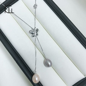 Fairy butterfly original silver 925 natural pearl pendent