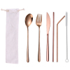 6pc rose gold cutlery & white bag