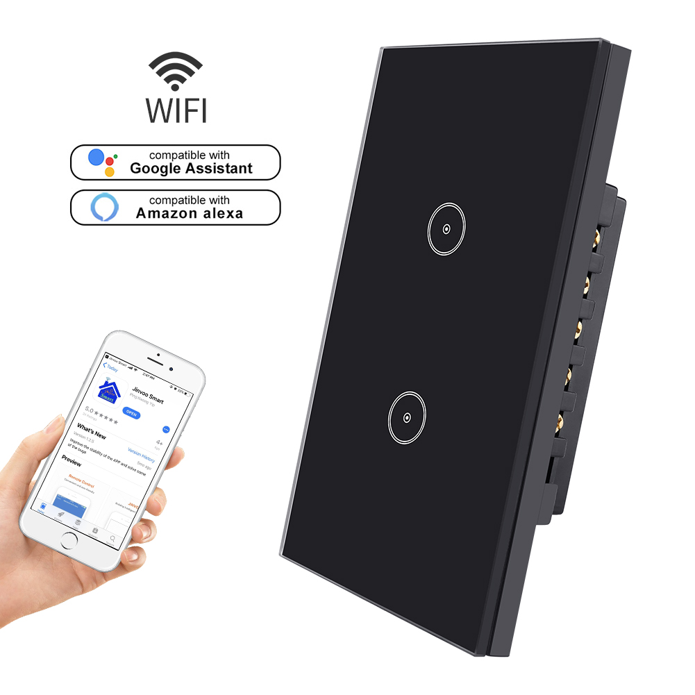 Tuya Jinvoo Wifi 2 Gang 1 Way Smart Home Light Switch