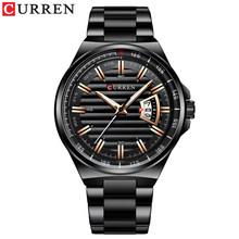 Лидирующий бренд CURREN Роскошные Кварцевые часы для мужчин наручные часы классический Серебряный ремешок из нержавеющей стали мужские часы ...(Китай)