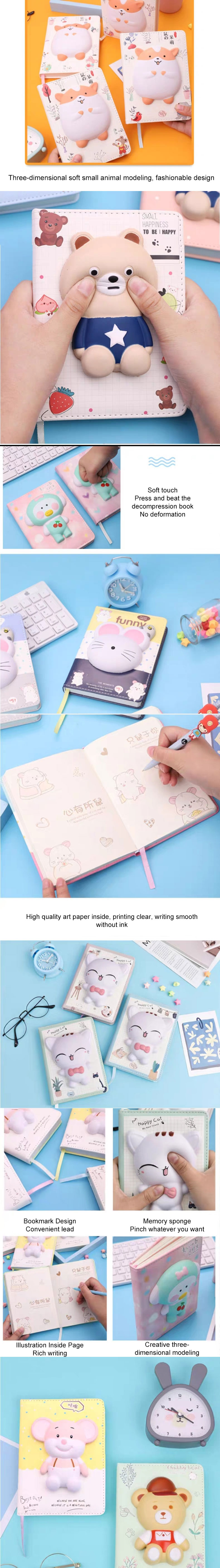 Cute Squishy Animal Sticker PU Diaries 2020 Slow Rising Foam Cartoon Journal Cover A5 Students Professional Notebook