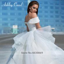 Свадебное платье Эшли Кэрол, бальное платье с открытыми плечами, блестящее вышитое бисером Тюлевое милое платье принцессы, свадебное плать...(China)