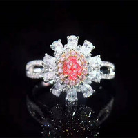 unique engagement gemstone jewelry designer 18k gold 0.24ct SI2 natural faint pink diamond ring for women