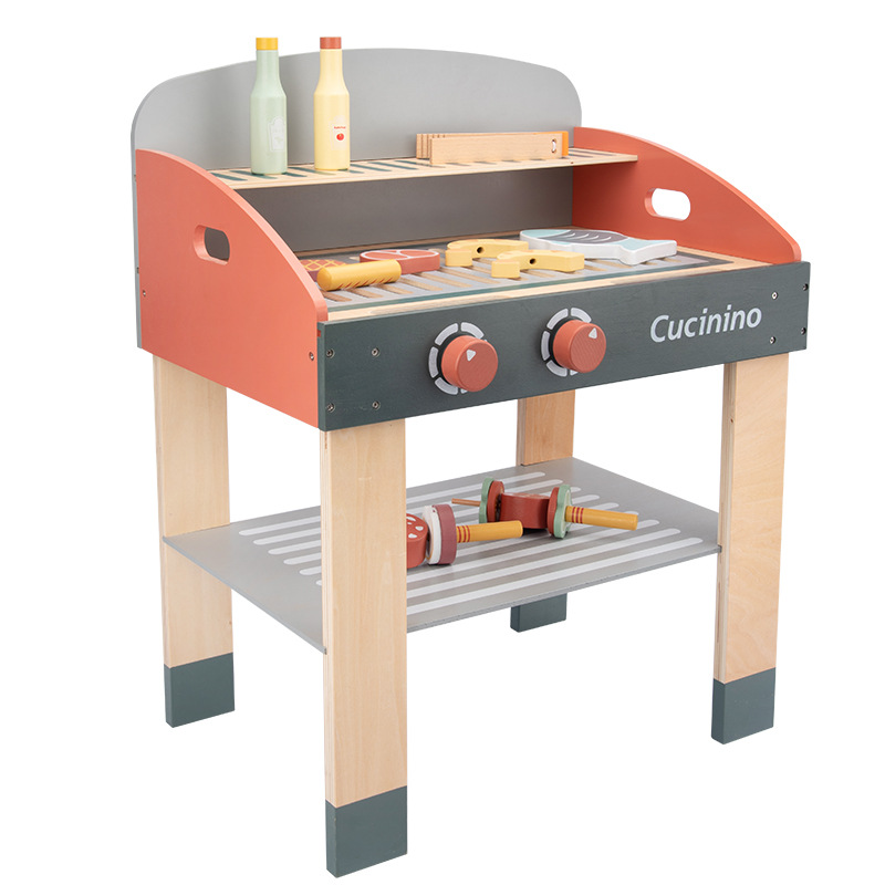 2020 Kids Toy Wooden Simulation Barbecue Boys And Girls Pretend Play House Toys Outdoor BBQ Toy Set