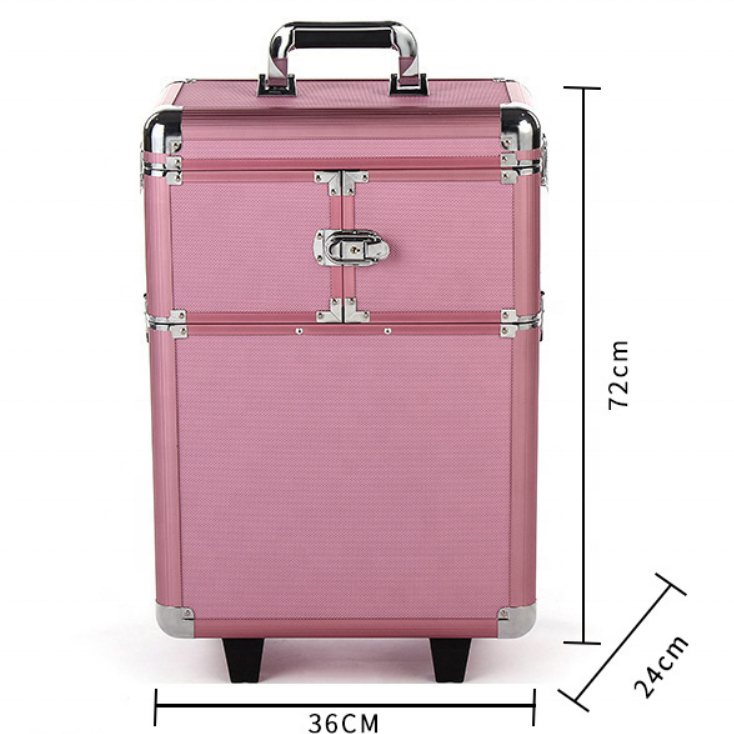 Portable Hairdresser Removable Trays train vanity portable tool box travel cosmetic bag case,aluminum luggage case
