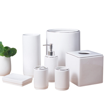 Bulk custom white porcelain bathroom tumbler bath accessories set ceramic bathroom tumbler set