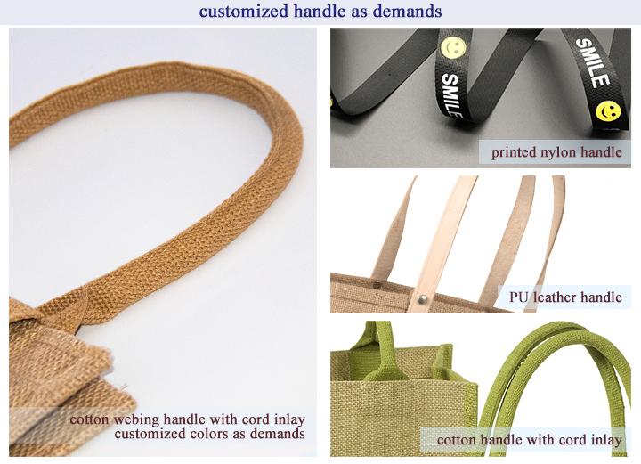 Custom Brand Logo Printed Eco Friendly Jute Grocery Bag Reusable Burlap Tote Bag With Cotton Handle